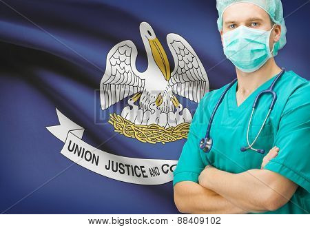 Surgeon With Us State Flag On Background Series - Louisiana