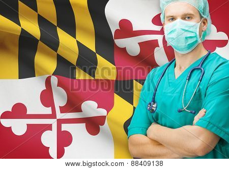 Surgeon With Us State Flag On Background Series - Maryland