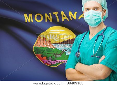 Surgeon With Us State Flag On Background Series - Montana