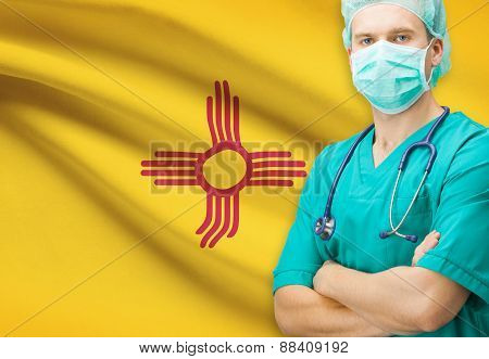 Surgeon With Us State Flag On Background Series - New Mexico