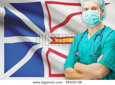 Surgeon With Canadian Privinces Flag On Background Series - Newfoundland And Labrador