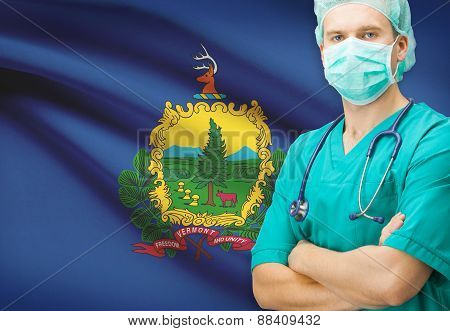 Surgeon With Us State Flag On Background Series - Vermont