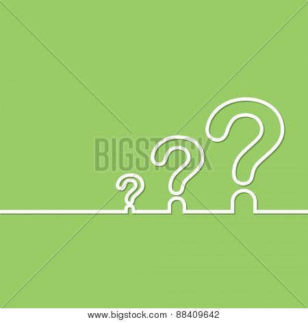 FAQ sign. Question icon. Help symbol. on green background. Vector illustration.