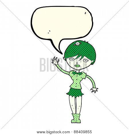 cartoon vampire girl waving with speech bubble