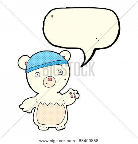 cartoon polar bear wearing hat with speech bubble