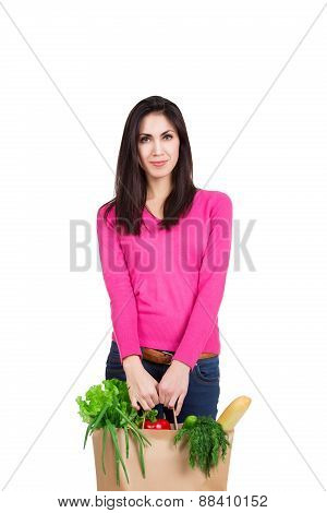 Beautiful Young Woman With Credit Card Holding Paper Bag With Groceries