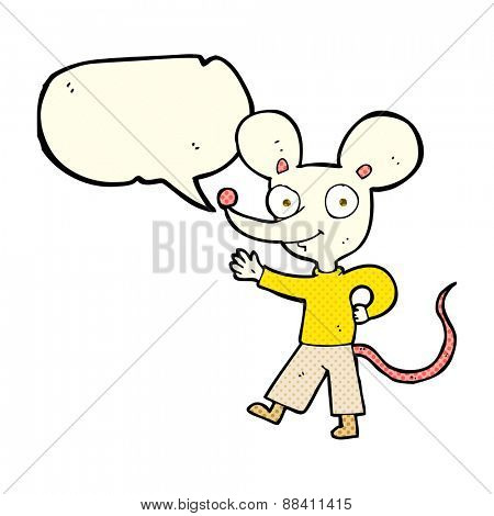 cartoon waving mouse with speech bubble