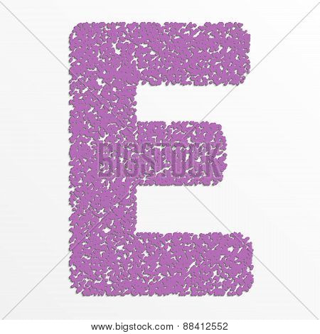 Vector multi color alphabet with grain texture, letter E
