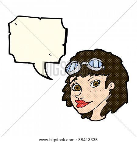 cartoon happy woman wearing aviator goggles with speech bubble