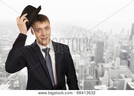 Stylish man in elegant black hat