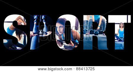 Conceptual collage of sports photos in the form of the word sport