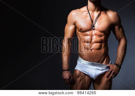 Muscular And Sexy Torso Of Young Man In Panties
