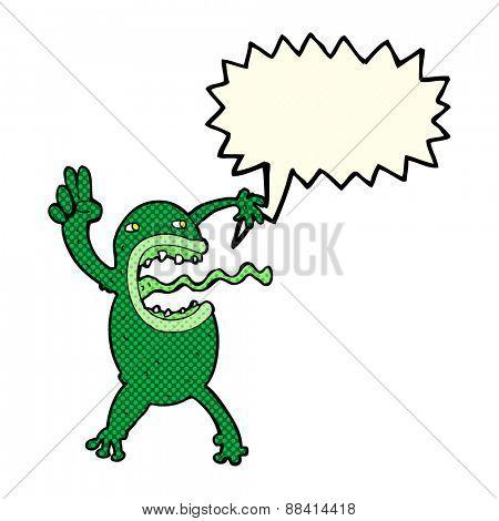cartoon crazy frog with speech bubble