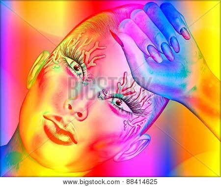 Abstract digital art image of a woman's face close up on a colorful textured background.