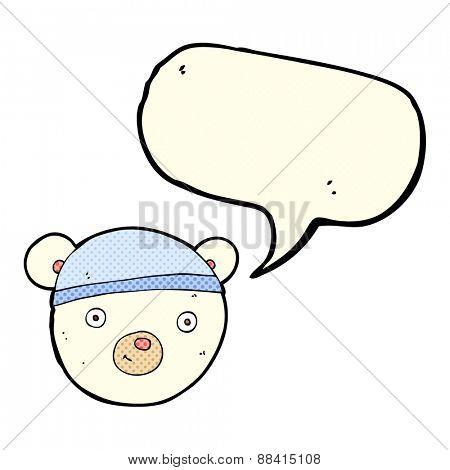 cartoon polar bear face with speech bubble