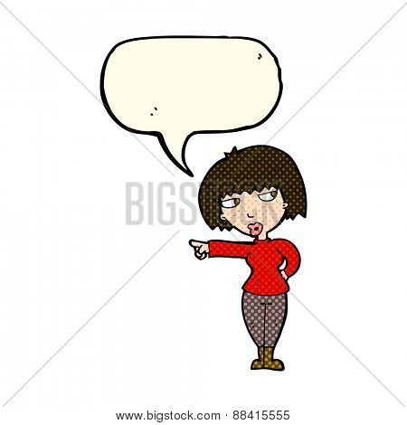 cartoon annoyed woman pointing with speech bubble