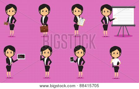 Cartoon Business Women Vector Set