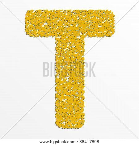 Vector multi color alphabet with grain texture, letter T