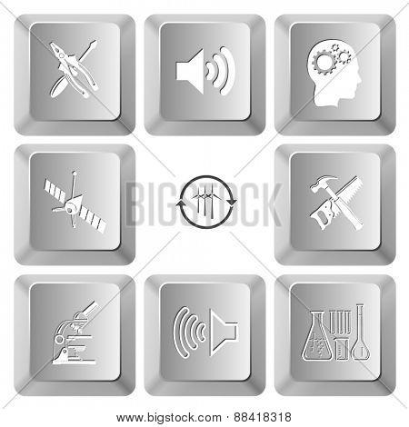 Tehnology set. Raster set computer keys.