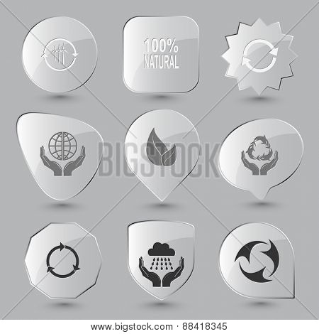 Ecology set. Raster glass buttons.