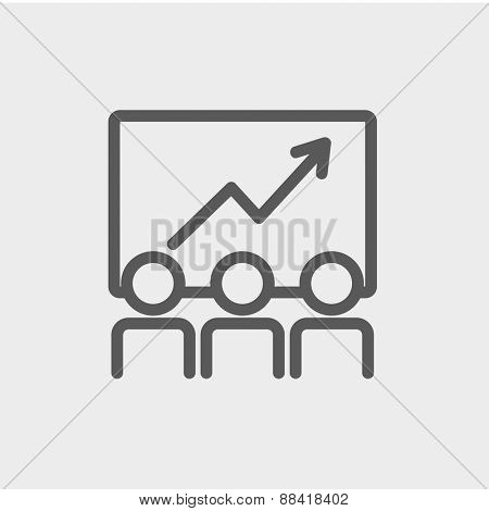 Business growth icon thin line for web and mobile, modern minimalistic flat design. Vector dark grey icon on light grey background.
