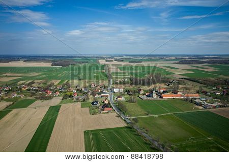 Aerial View Of The Small Village