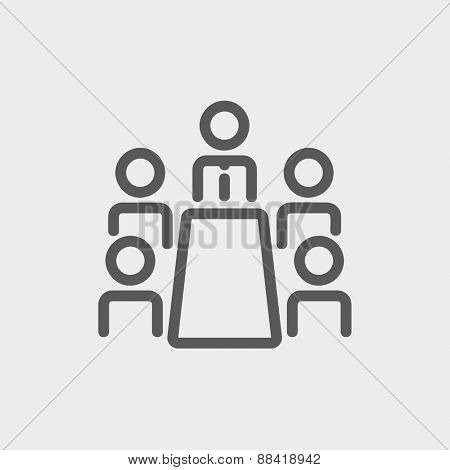 Business meeting in office icon thin line for web and mobile, modern minimalistic flat design. Vector dark grey icon on light grey background.