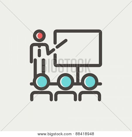 Businessman giving a presentation icon thin line for web and mobile, modern minimalistic flat design. Vector icon with dark grey outline and offset colour on light grey background.