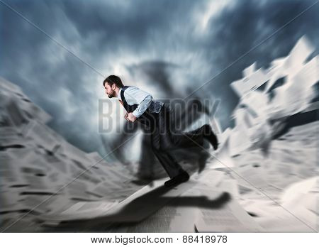 Man running in frustration