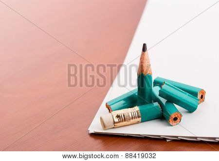 Pencil broke into pieces