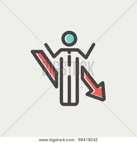 Man with arrow down icon thin line for web and mobile, modern minimalistic flat design. Vector icon with dark grey outline and offset colour on light grey background.