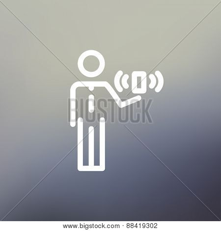 Man and wireless signal icon thin line for web and mobile, modern minimalistic flat design. Vector white icon on gradient mesh background.