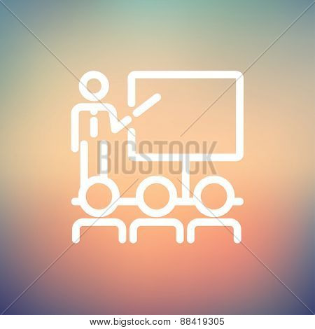 Businessman giving a presentation icon thin line for web and mobile, modern minimalistic flat design. Vector white icon on gradient mesh background.
