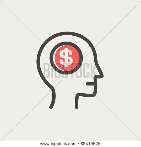 Head with dollar symbol icon thin line for web and mobile, modern minimalistic flat design. Vector icon with dark grey outline and offset colour on light grey background.