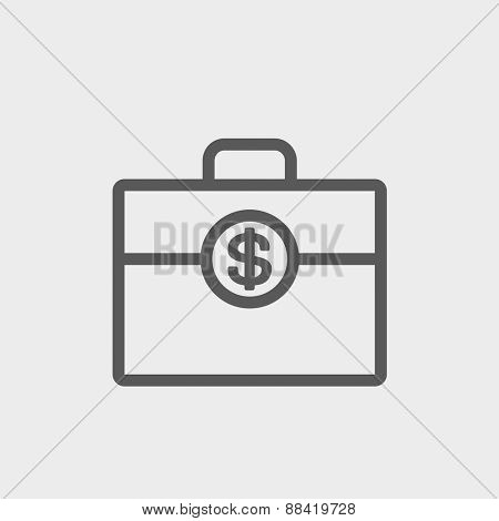Money suitcase icon thin line for web and mobile, modern minimalistic flat design. Vector dark grey icon on light grey background.