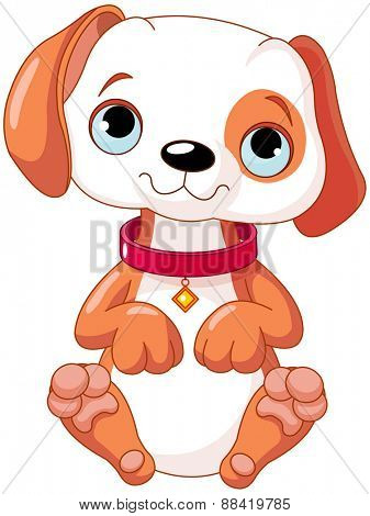Illustration of a cute puppy wearing a red collar