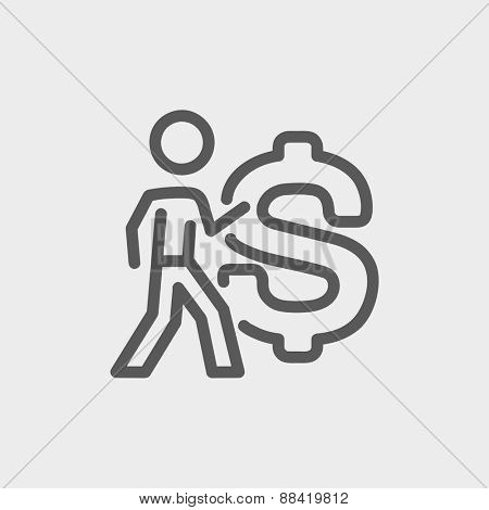Man with big dollar symbol icon thin line for web and mobile, modern minimalistic flat design. Vector dark grey icon on light grey background.