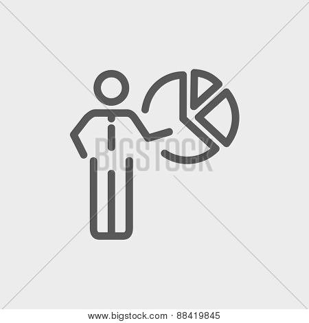 Businessman pointing at pie chart icon thin line for web and mobile, modern minimalistic flat design. Vector dark grey icon on light grey background.