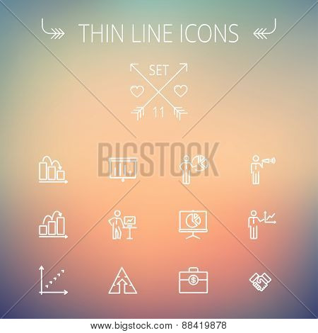Business thin line icon set for web and mobile. Set includes- recycle, money bag, graph, roller screen, business presentation, pie chart icons. Modern minimalistic flat design. Vector white icon on