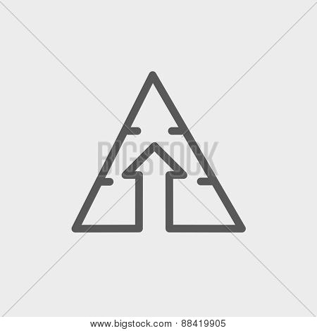 Triangle arrow up icon thin line for web and mobile, modern minimalistic flat design. Vector dark grey icon on light grey background.