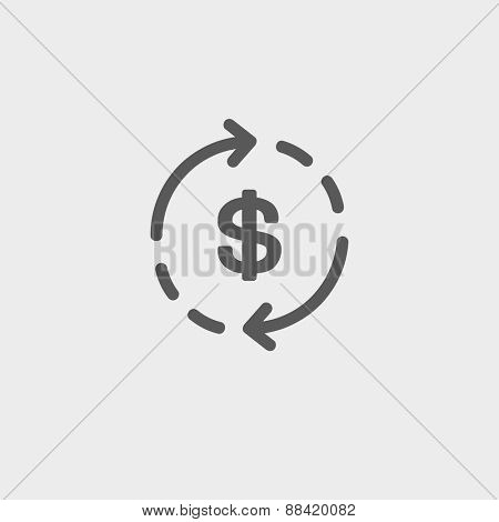 Money dollar symbol with arrow icon thin line for web and mobile, modern minimalistic flat design. Vector dark grey icon on light grey background.