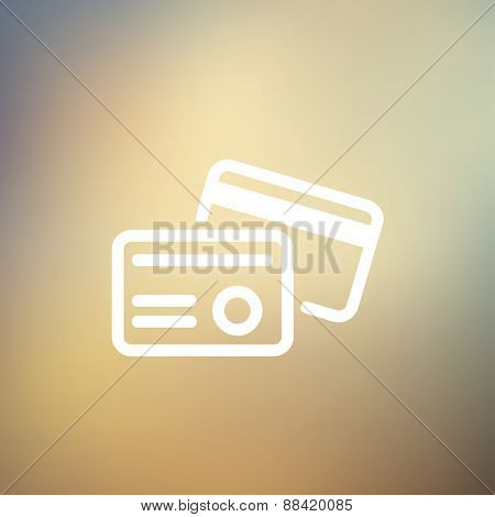 Credit card icon thin line for web and mobile, modern minimalistic flat design. Vector white icon on gradient mesh background.
