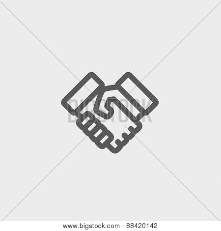 Handshake icon thin line for web and mobile, modern minimalistic flat design. Vector dark grey icon on light grey background.