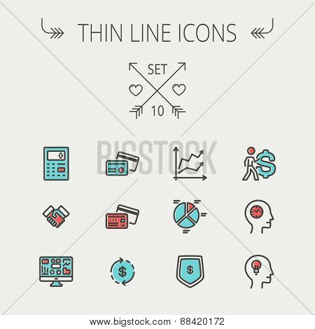 Business thin line icon set for web and mobile. Set includes- graph, chart, pie graph, dollar symbol, cards, handshake, calculator, monitor icons. Modern minimalistic flat design. Vector icon with