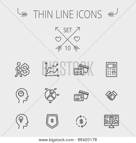 Business thin line icon set for web and mobile. Set includes- graph, chart, pie graph, dollar symbol, cards, handshake, calculator, monitor icons. Modern minimalistic flat design. Vector dark grey