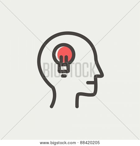 Human head with idea symbol icon thin line for web and mobile, modern minimalistic flat design. Vector icon with dark grey outline and offset colour on light grey background.