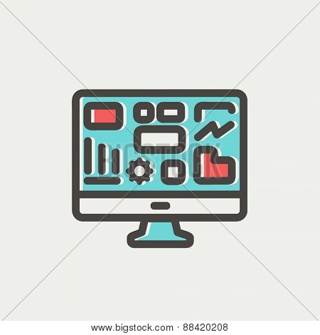 Monitor with business graph icon thin line for web and mobile, modern minimalistic flat design. Vector icon with dark grey outline and offset colour on light grey background.