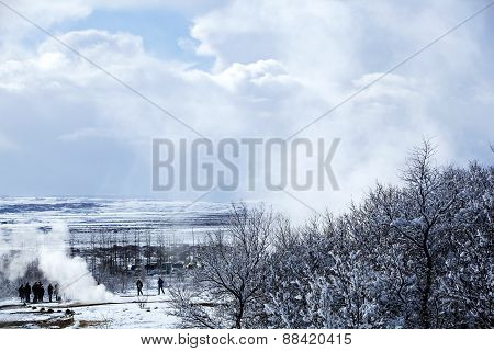 Geyser Landscape In Winter In Iceland