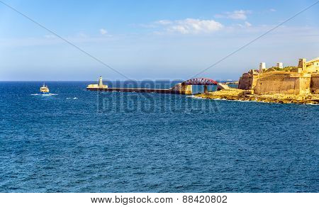 View Of Grand Harbour Breakwater In Valletta - Malta