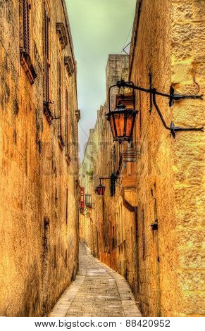 Narrow Street In Mdina, The Old Capital Of Malta